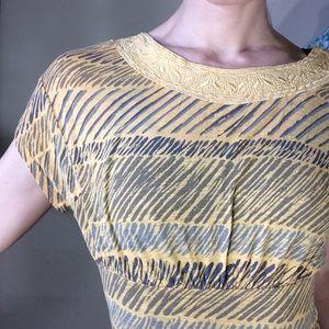 Ecote Tops - ECOTE Zig Zag Mustard Tunic Short Sleeve